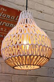 Wicker Pendant Light with Woven Wicker Pendant Light Basket In White With Bulb Rattan