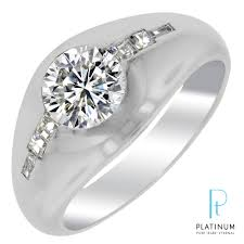 mens engagement rings estate mens diamond ring in platinum with side diamonds 1 1 2ct