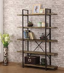 Metal And Wood Bookshelves by Amazon Com O U0026k Furniture Industrial Style 5 Shelf Bookcase And