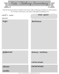Pantry Inventory Spreadsheet Free Printable Kids Clothing Inventory Keeping Track Of What You