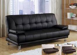 Futon Sofa Bed Modern Cozy Black Cast Leather Removable Armrests Futon Sofa Bed