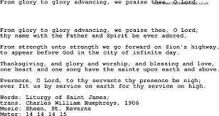 hymns of thanksgiving and praise hymns ancient and modern song from glory to glory advancing we