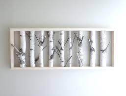 Entryway Wall Art Ideas White Birch Forest Wall Art Coat Hanger 36 X 14 For My Home
