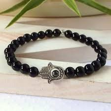 man bracelet stone images 2018 sn0307 hamsa hand black agate natural stone bracelet mala jpg