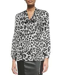 michael kors blouses michael michael kors yesler leopard print blouse with tie