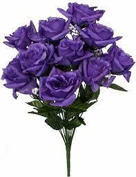 silk roses 19 purple open silk floral bush