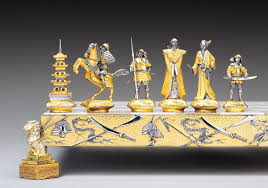 decorative chess set decoration chess sets by piero benzoni in gold and silver