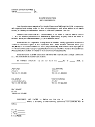 Casual Job Resume by Board Resolution On Increase Of Capital