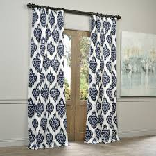 exclusive fabrics ikat blue printed cotton curtain panel walmart com