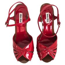 miu miu red patent leather sandals buy second hand miu miu red