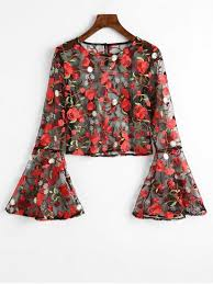 floral blouse flare sleeve floral sheer mesh blouse floral blouses l zaful