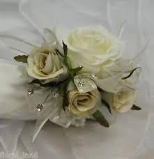 silver flowers silk wedding flower ivory wrist corsage diamante ribbon