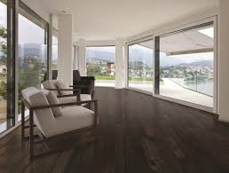 view living room with chocolate wood floor