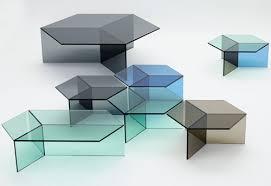 Hexagonal Glass Tables Isom By Sebastian Scherer Design Milk - Design glass table