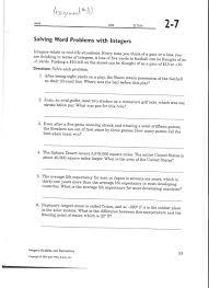 Add Subtract Integers Worksheet Free Worksheet Integer Word Problems Worksheet Phinixi Com