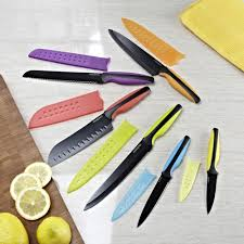 coloured kitchen knives set paderno colour edge knife combo with sheath set of 6 multi
