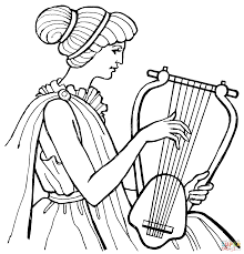 woman playing a lyre coloring page free printable coloring pages