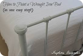 Antique White Metal Bed Frame How To Paint A Wrought Iron Bed Frame In One Easy Step