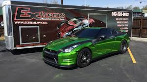nissan green extreme autoworks nissan gtr chrome green vehicle wrap youtube