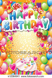 clipart of template for happy birthday card with place for text
