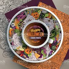 cup of coffee and halloween doodles stock vector art 611311250