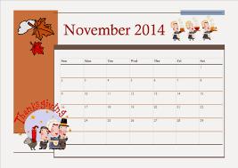 free printable november 2014 calendar for thanksgiving theme