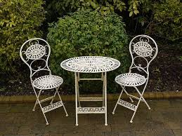 Wrought Iron Bistro Table Folding Metal Garden Furniture 2 Chairs Oval Table Bistro Set