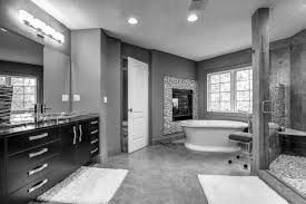 large bathroom decorating ideas black wooden bathroom vanity and large mirror on grey wall connected