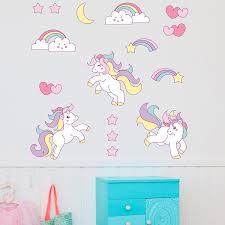 booizzi cute unicorn rainbow colour wall sticker set child bedroom
