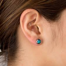 black ear studs of women s stainless steel bezel set black synthetic opal stud