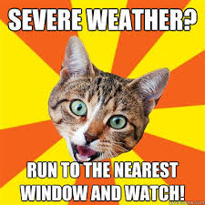 Bad Weather Meme - severe weather run to the nearest window and watch bad advice