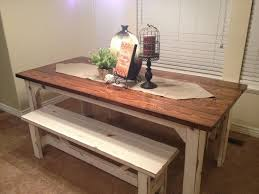 Farm Style Dining Room Sets - bench country kitchen table with bench white and cream farmhouse