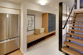 modern storage bench hall contemporary with gray cabinet floating