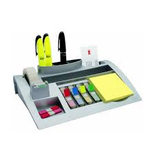 3m silver desk organiser with post it notes index tabs and magi