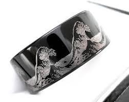 Mens Wedding Rings Tungsten by Mens Wedding Bands Ocean Ring Wave Ring Mens Black Tungsten