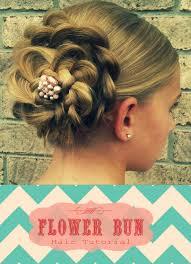 flower hair bun flower bun tutorial fast and easy hairdo this