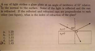 what is a ray of light solved a ray of light strikes a glass plate at an angle o