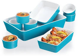 oven to table bakeware sets turquoise blue 9 piece ceramic oven to table cookware set kitchen