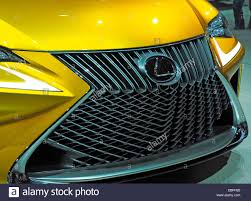 lexus yellow light on dashboard front grille detail yellow lexus concept car stock photo royalty