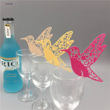 wedding supplies 50pcs wine glass cup paper card laser cut flying birds party