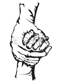 hands holding drew in sketch form royalty free cliparts vectors