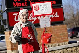 bell rings red images Cancer can 39 t stop 80 year old bell ringer the salvation army jpg