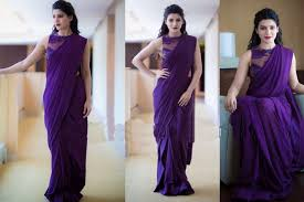 Buy Samantha Bollywood Replica Green Samantha Ruth Prabhu In Beautiful Purple Saree