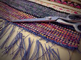 Dying A Rug Finishing Rag Rug With Square Knots And Trimming Warp Ends Weave