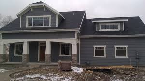 Blue Gray Exterior Paint Dark Gray Siding Dark Shutters White Trim Paint The Front Door W A