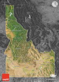map of idaho satellite map of idaho darken desaturated
