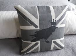 Blue Union Jack Cushion Flags Helkat Design Hand Printed Originals Made In Britain