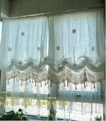 White Lace Window Valances French Country White Lace Crochet Balloon Shade Austrian Sheer