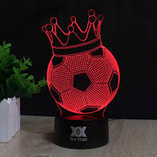hui yuan creative football an crown 3d night light usb led table