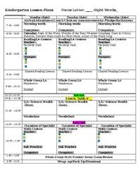 full day kindergarten lesson plan template with differentiation tpt